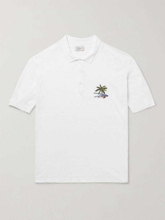 ALTEA Embroidered Linen Polo Shirt