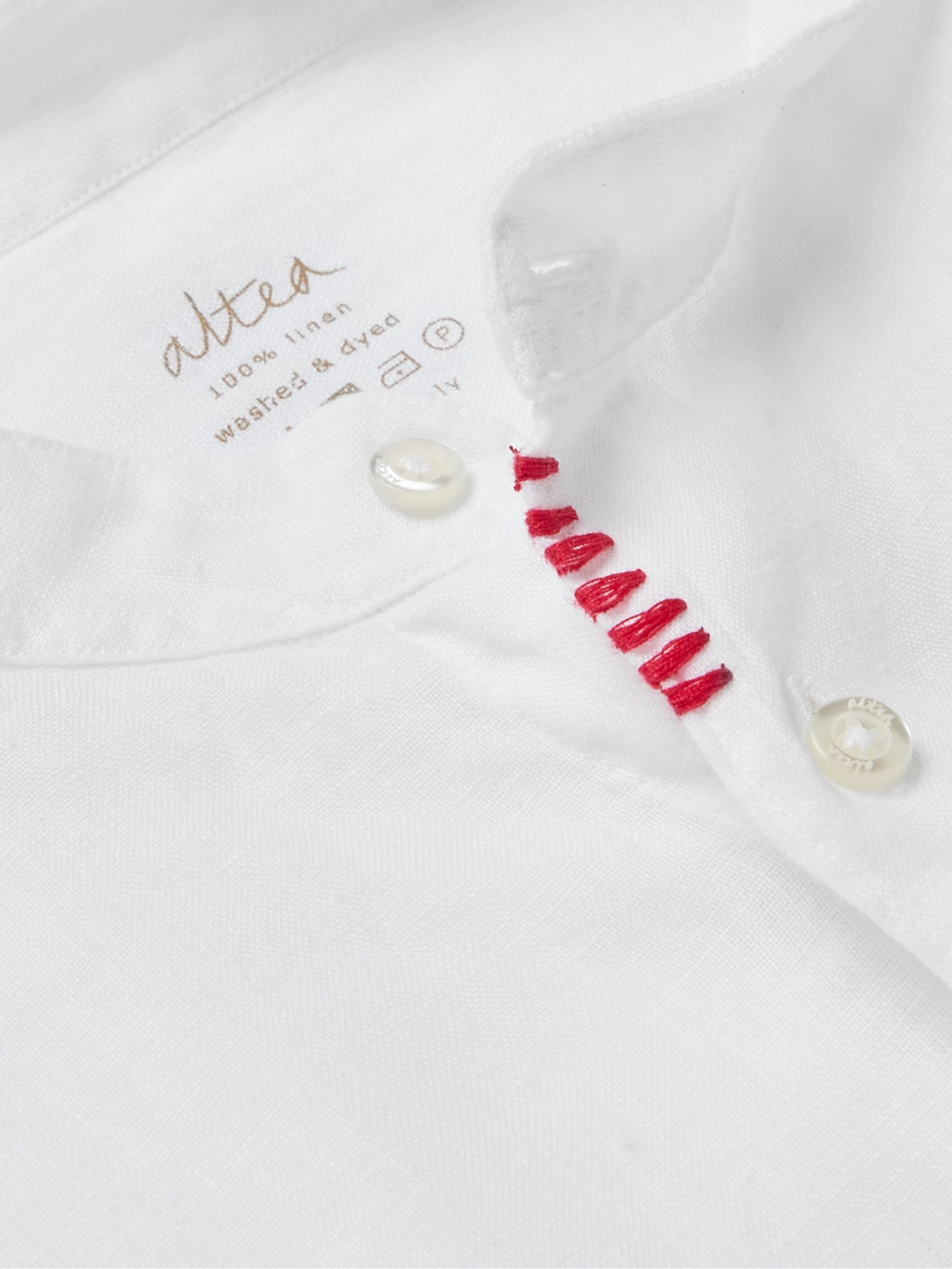 Altea Slim-Fit Embroidered Grandad-Collar Linen Shirt