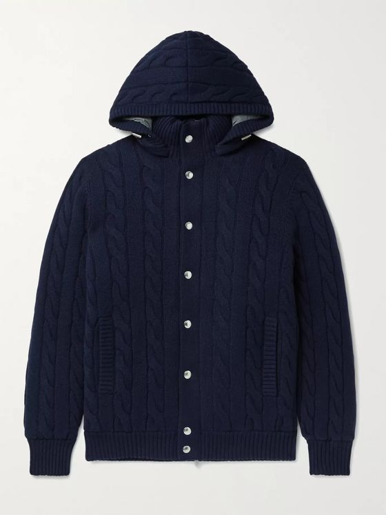 Brunello Cucinelli Cable-Knit Cashmere Hooded Down Cardigan