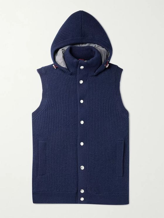 BRUNELLO CUCINELLI Slim-Fit Ribbed Cashmere Hooded Down Gilet