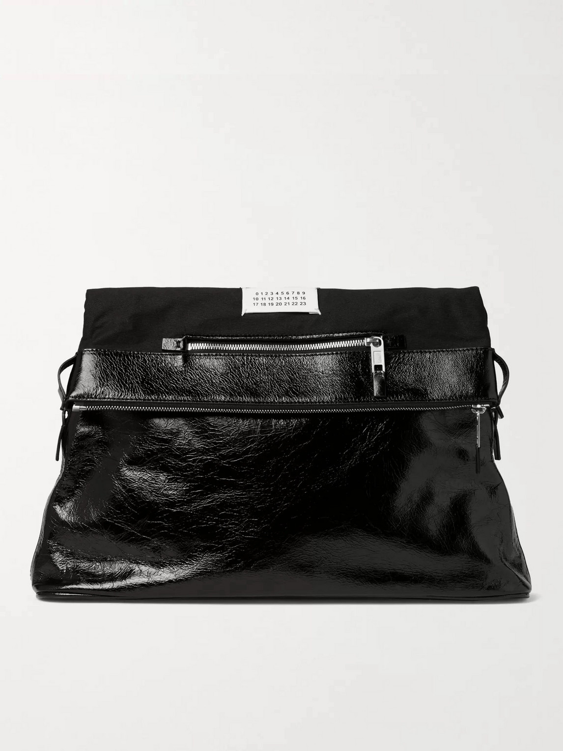 Maison Margiela Textured-leather And Twill Tote Bag In Black