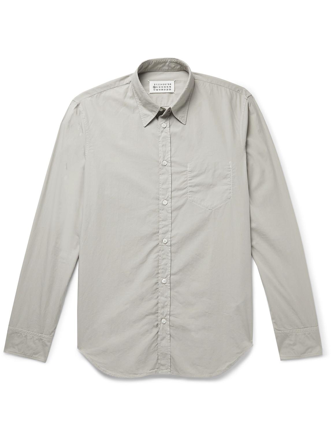 maison margiela - slim-fit garment-dyed cotton-poplin shirt - men - brown - eu 42