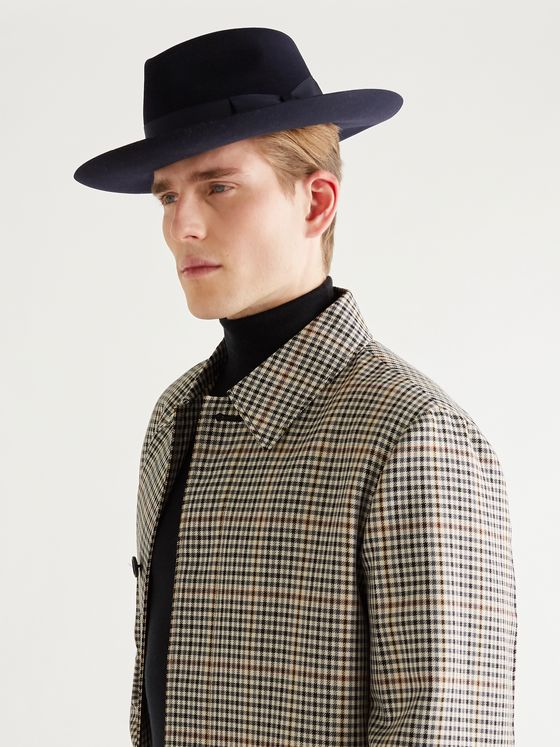 LOCK & CO HATTERS Stafford Grosgrain-Trimmed Wool-Felt Fedora
