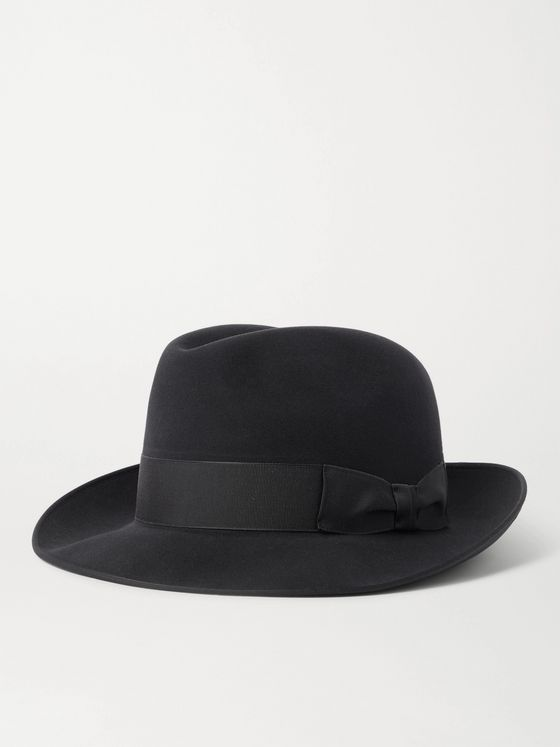 LOCK & CO HATTERS Albany Grosgrain-Trimmed Wool-Felt Trilby Hat