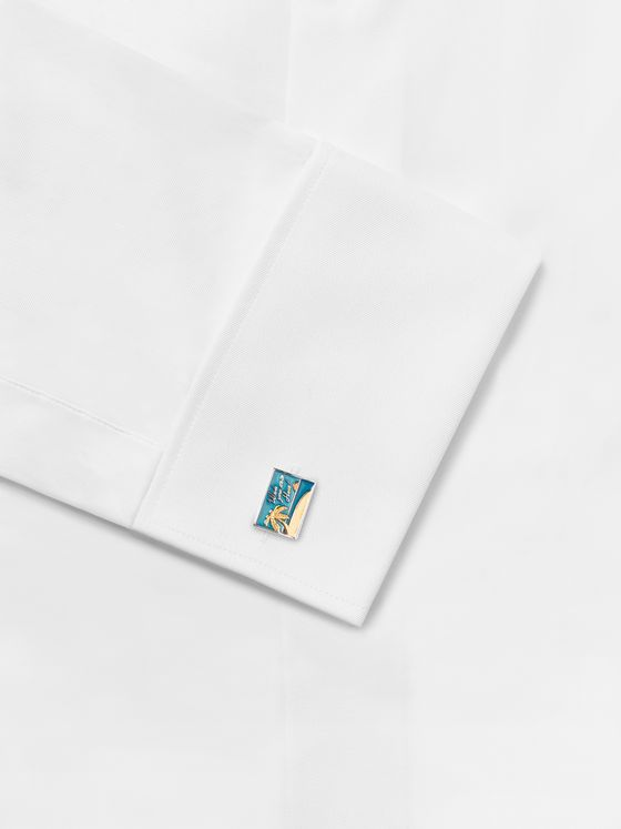 PAUL SMITH Silver-and Gold-Tone Enamel Cufflinks