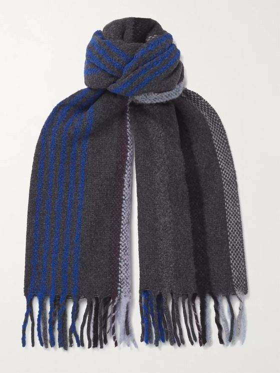 PAUL SMITH Fringed Striped Wool-Blend Scarf