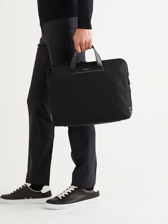 PAUL SMITH Embroidered Leather-Trimmed Nylon Briefcase