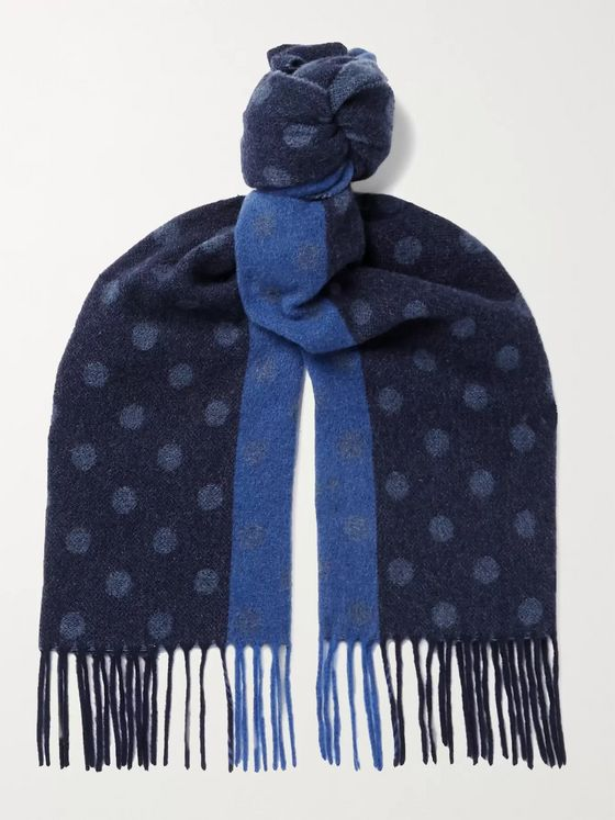 Paul Smith Fringed Colour-Block Polka-Dot Scarf