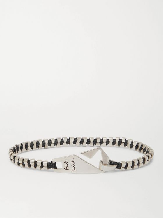 PAUL SMITH Sterling Silver and Waxed Cotton Bracelet