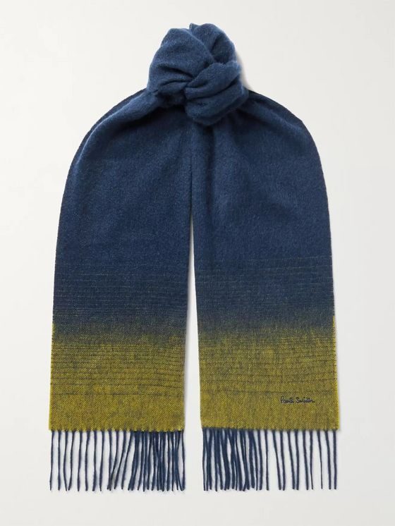 PAUL SMITH Logo-Embroidered Degradé  Fringed Cashmere Scarf