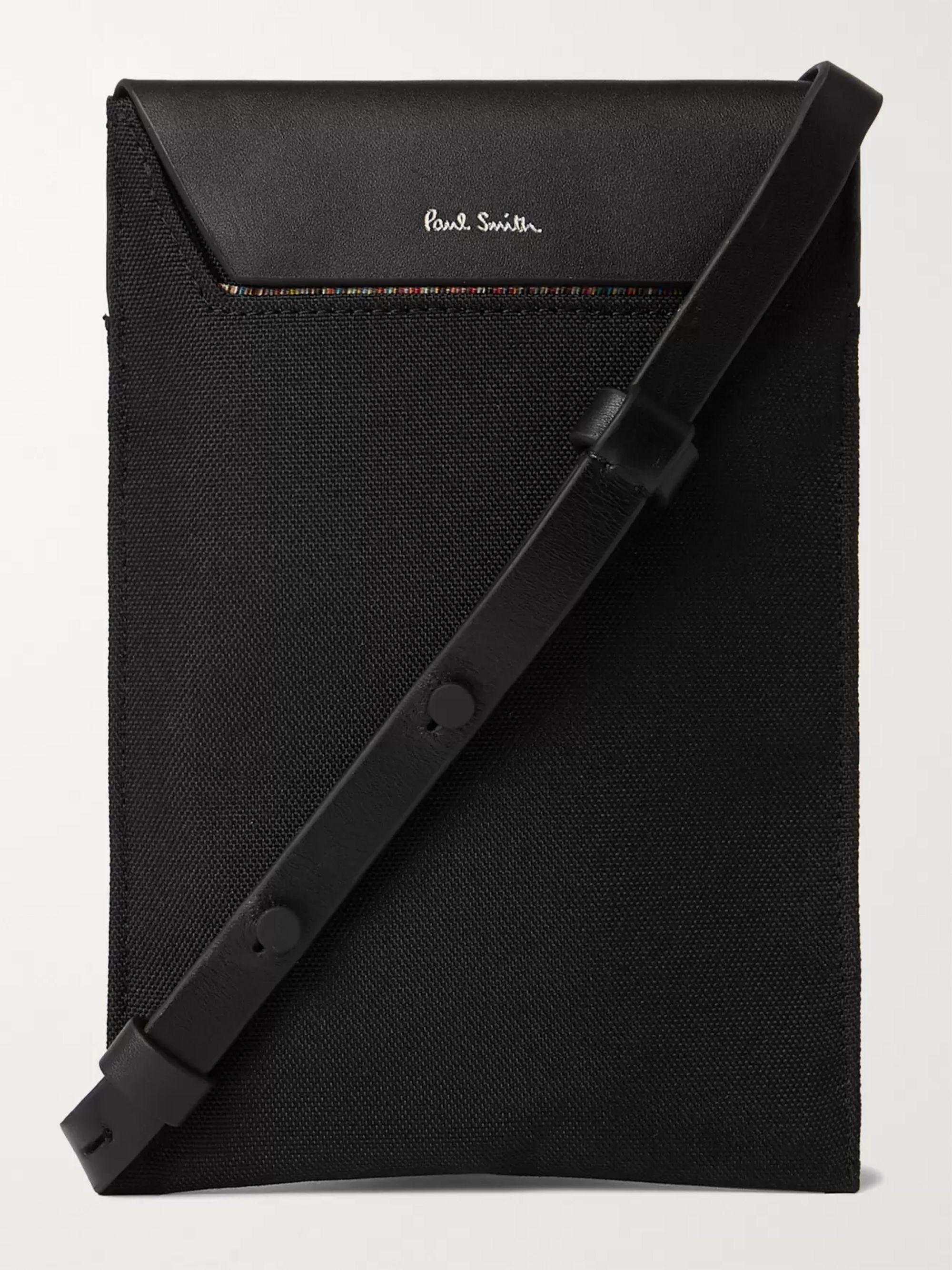 폴 스미스 Paul Smith Leather-Trimmed Nylon Messenger Bag,Black