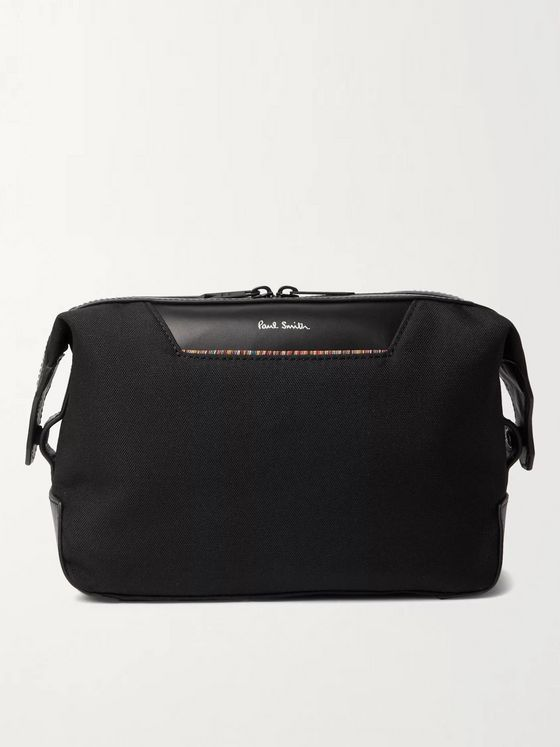 PAUL SMITH Embroidered Leather-Trimmed Nylon Wash Bag