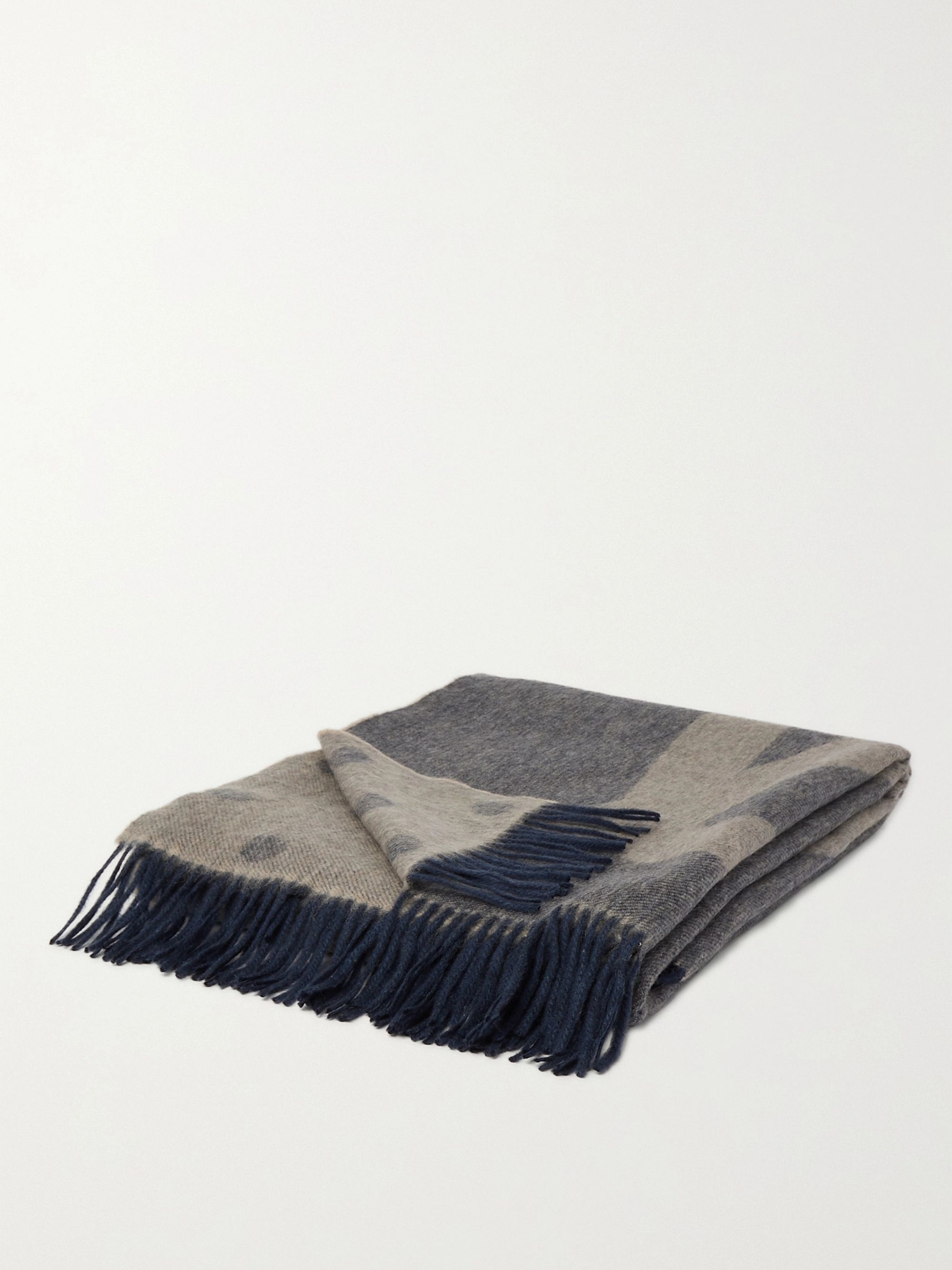 PAUL SMITH Fringed Wool and Cashmere-Blend Jacquard Blanket