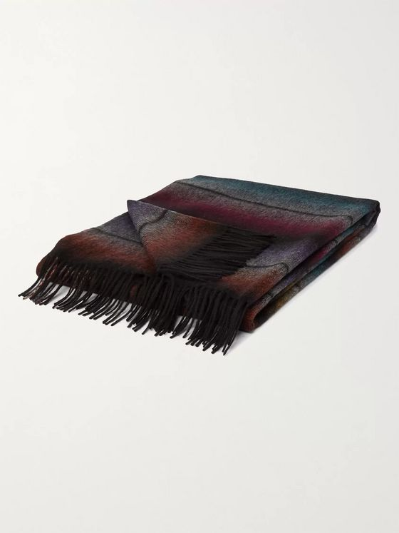 PAUL SMITH Fringed Striped Wool and Cashmere-Blend Blanket