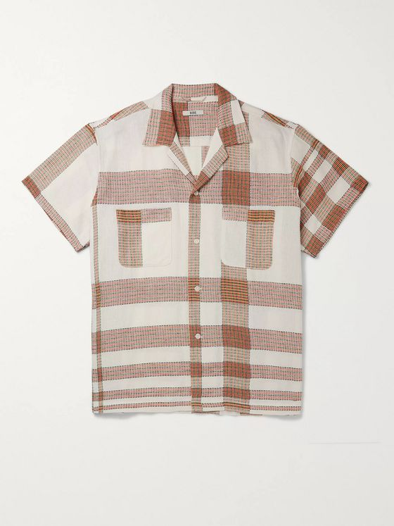 BODE Camp-Collar Checked Embroidered Linen and Cotton-Blend Shirt
