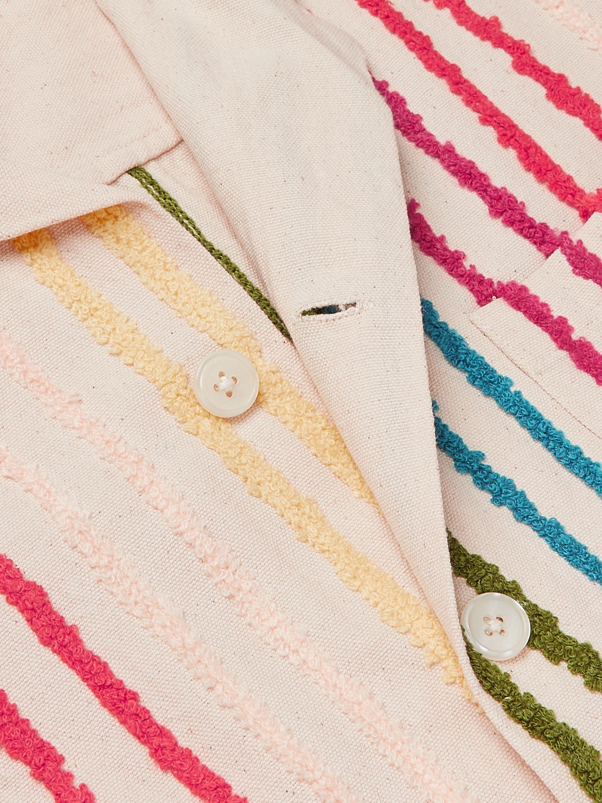 Yellow Camp-collar Striped Cotton-chenille Shirt | Bode