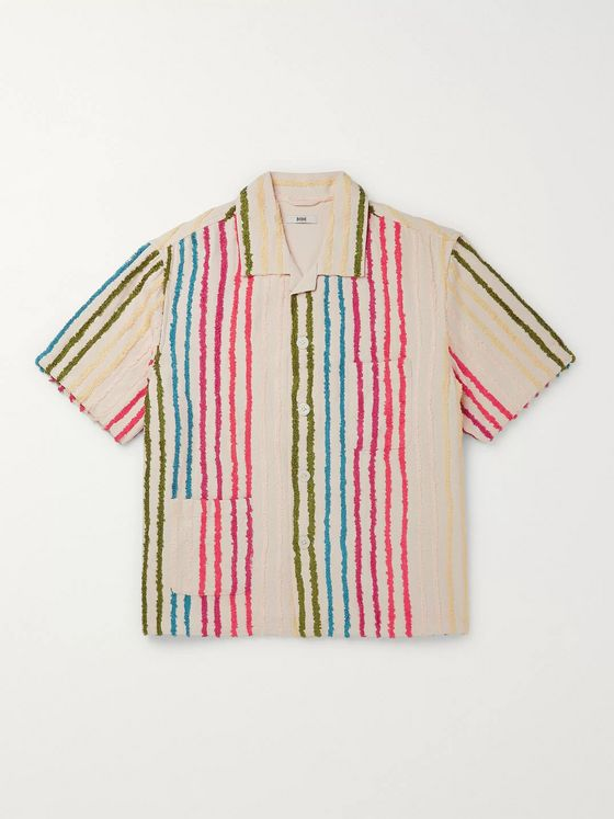 BODE Camp-Collar Striped Cotton-Chenille Shirt