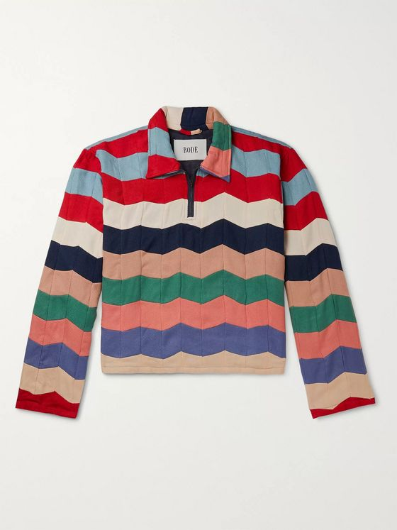BODE Striped Quilted Twill Half-Zip Polo Shirt