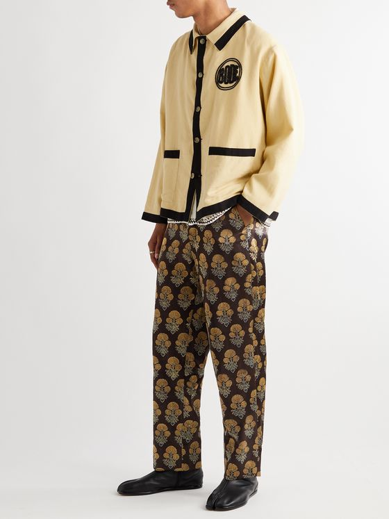 BODE Floral-Print Silk Trousers