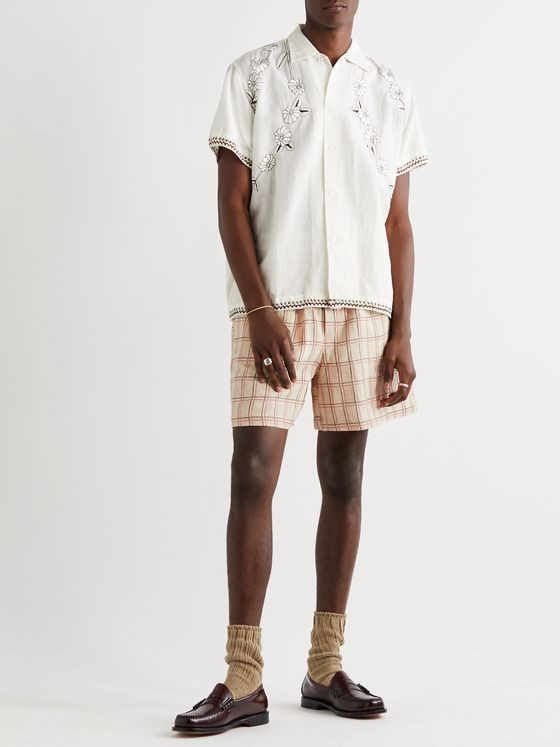 BODE Checked Linen Drawstring Shorts