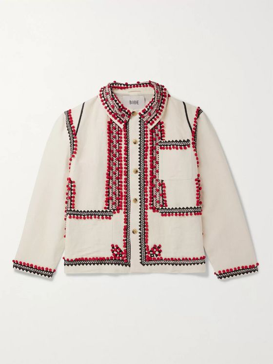 BODE Embroidered Linen and Cotton-Blend Jacket