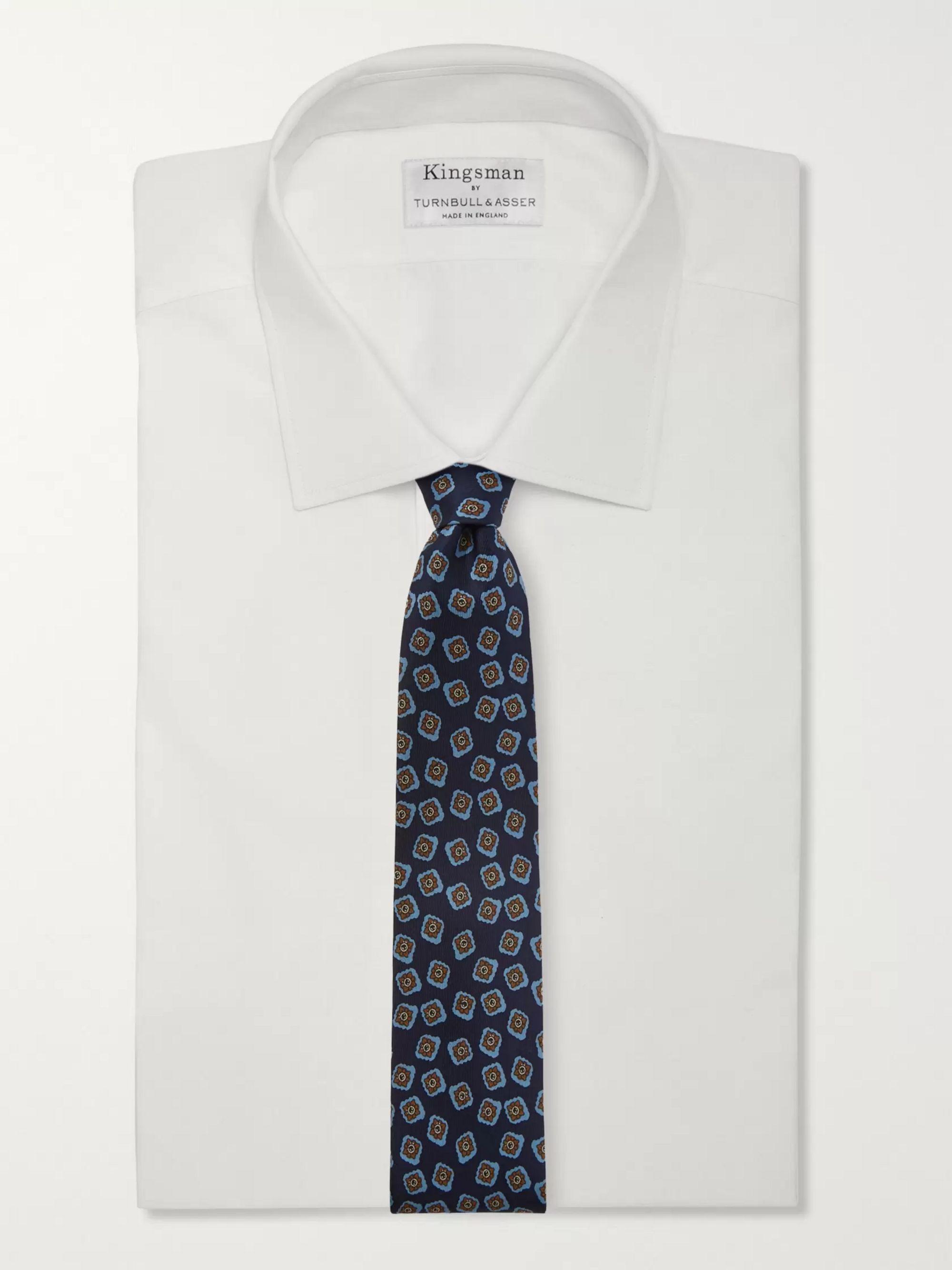 Navy 8cm Floral-print Silk-twill Tie | E.marinella
