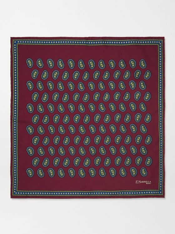 E.MARINELLA Paisley-Print Silk-Twill Pocket Square
