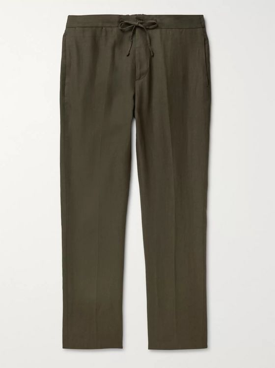 De Petrillo Tapered Linen Drawstring Trousers