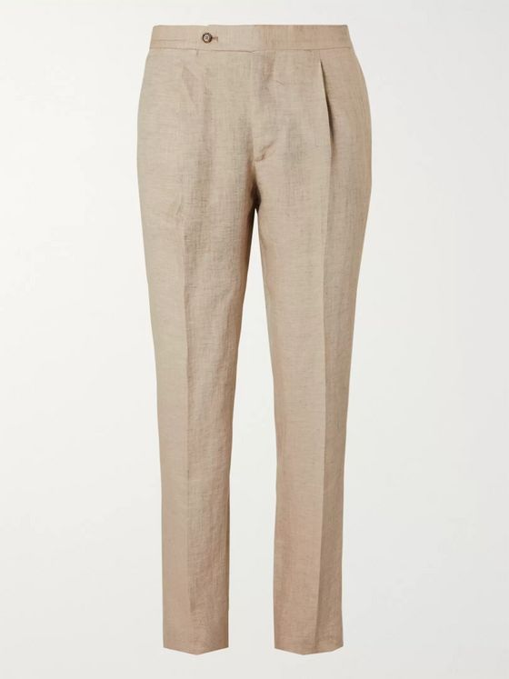 De Petrillo Tapered Pleated Herringbone Linen Trousers