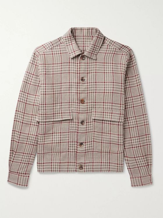 DE PETRILLO Checked Linen Bomber Jacket