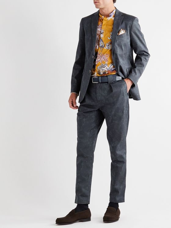 ETRO Tapered Paisley-Print Stretch-Cotton Twill Suit Trousers