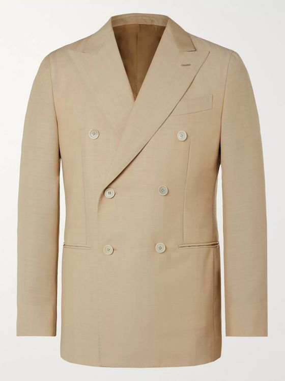 Caruso Aida Double-Breasted Wool and Mohair-Blend Suit Jacket