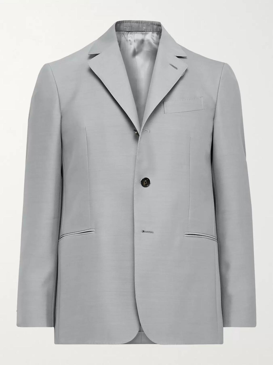 Caruso Macbeth Wool And Silk-blend Blazer In Gray
