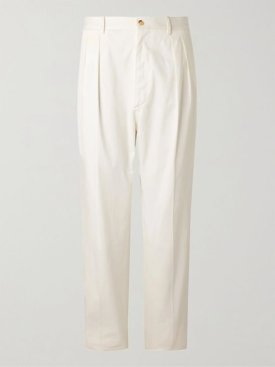 De Petrillo Wide-Leg Pleated Cotton-Blend Twill Trousers