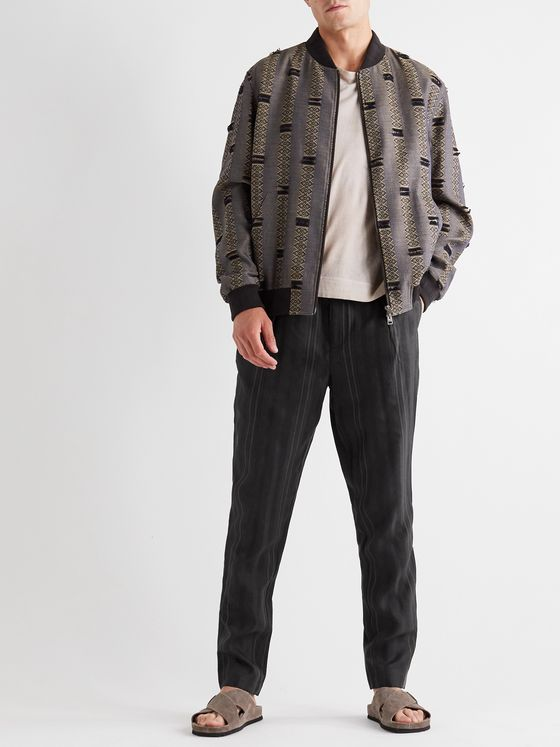 ETRO Tapered Striped Satin-Jacquard Trousers