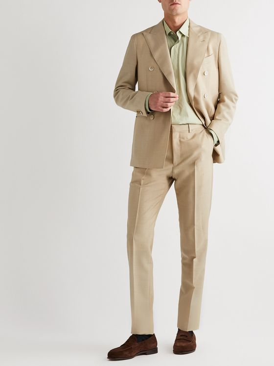 Caruso Wool and Mohair-Blend Suit Trouers