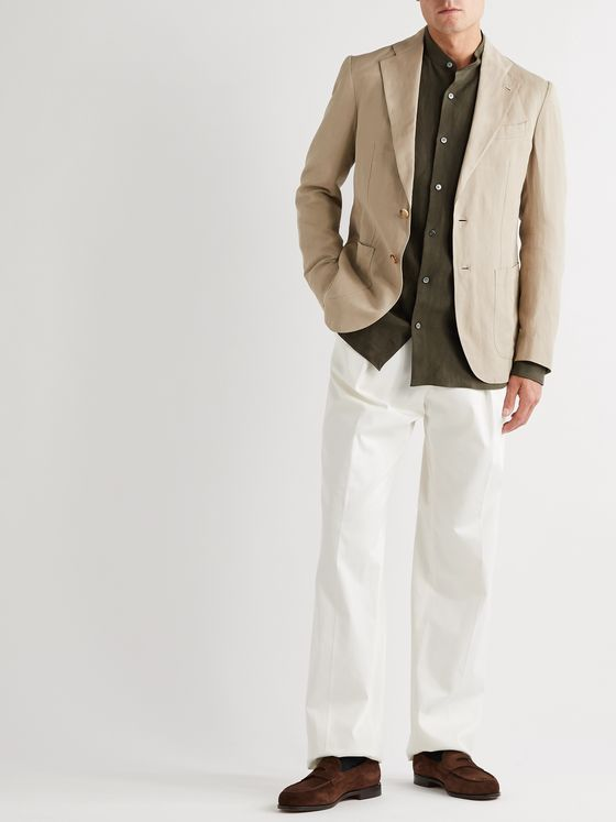 De Petrillo Unstructured Herringbone Cotton and Linen-Blend Blazer