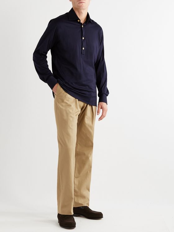 GIULIVA HERITAGE Umberto Pleated Cotton-Twill Trousers