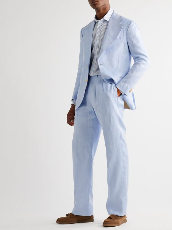Giuliva Heritage Pleated Herringbone Linen Suit Trousers