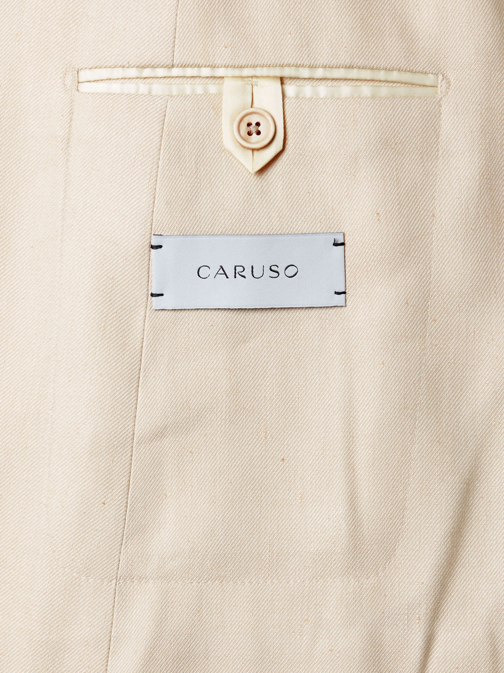 Cream Double-breasted Linen And Silk-blend Twill Suit Jacket   Caruso