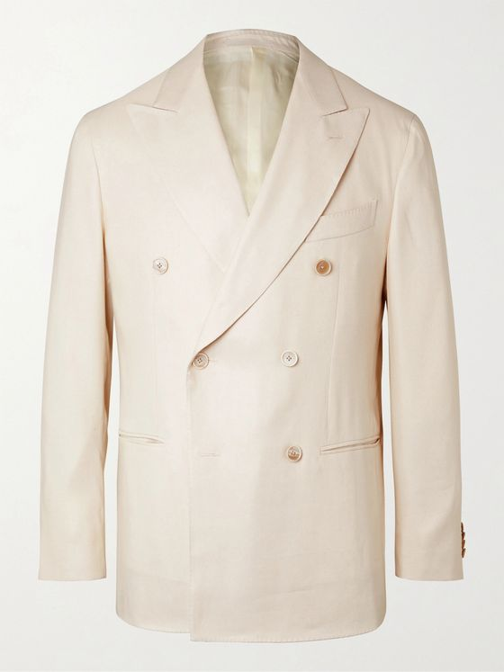 Caruso Double-Breasted Linen and Silk-Blend Twill Suit Jacket