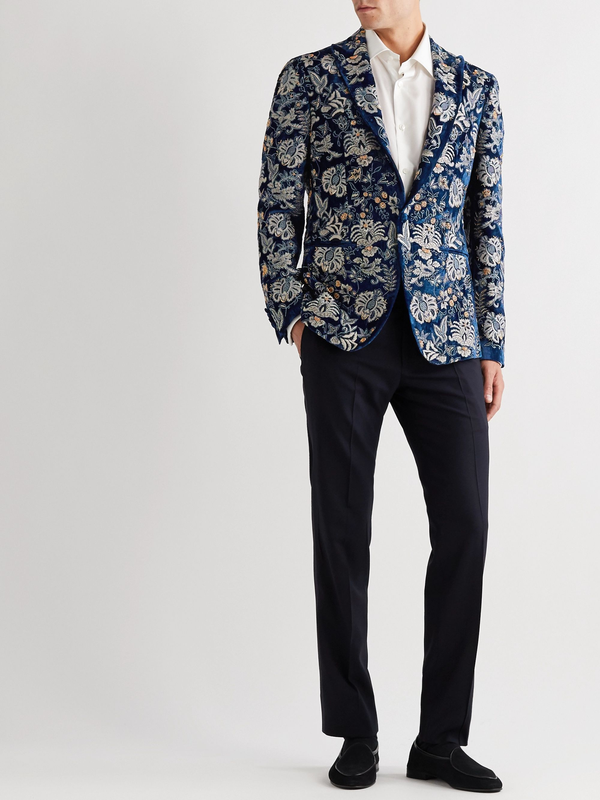 ETRO Slim-Fit Embellished Velvet Tuxedo Jacket