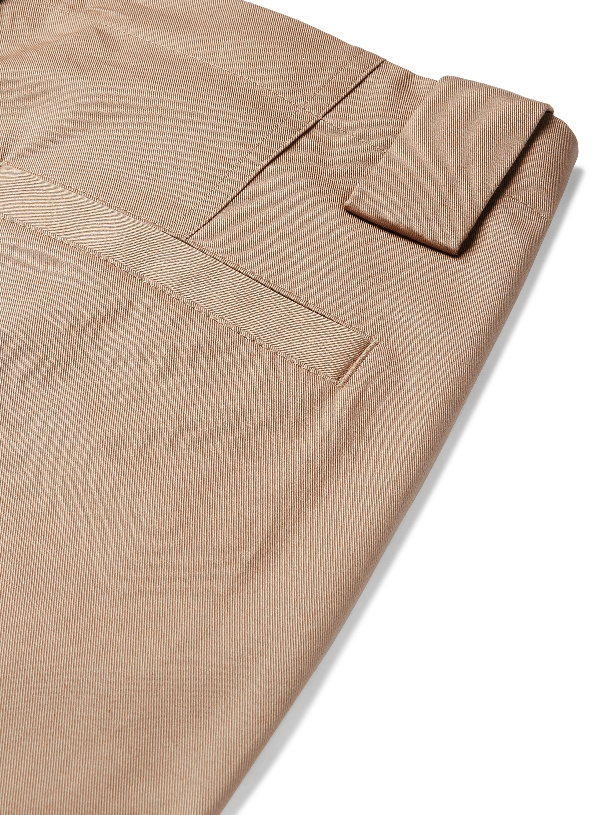 Beige Tapered Pleated Stretch-cotton Twill Suit Trousers | Etro