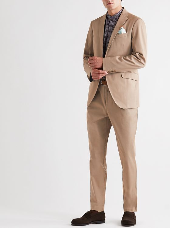 Etro Tapered Pleated Stretch-Cotton Twill Suit Trousers