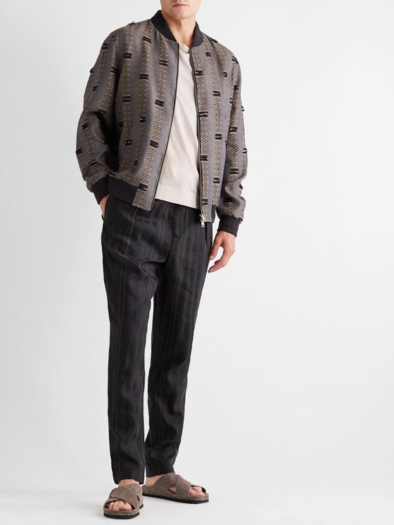 ETRO Fringed Striped Linen and Wool-Blend Jacquard Bomber Jacket