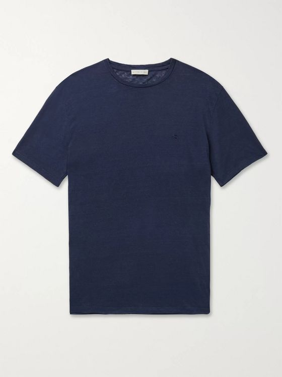 ETRO Logo-Embroidered Linen T-Shirt