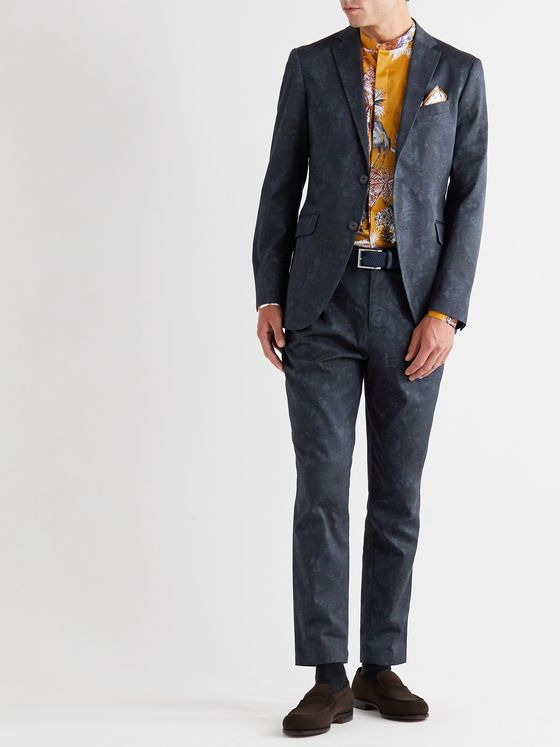ETRO Slim-Fit Paisley-Print Stretch-Cotton Twill Suit Jacket