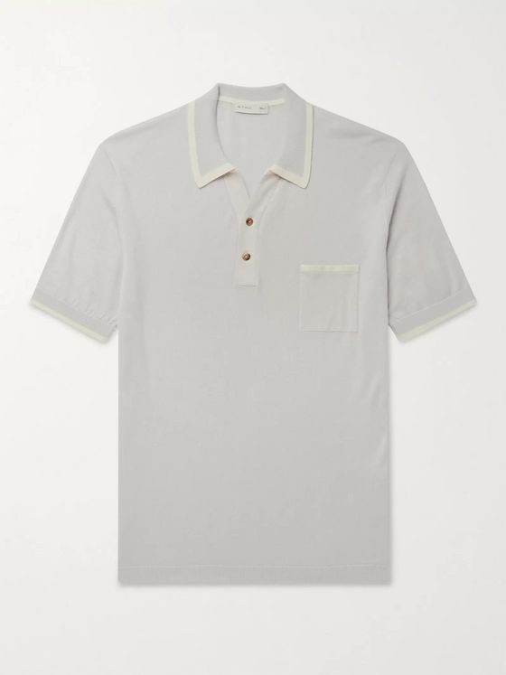 Etro Contrast-Tipped Cotton and Cashmere-Blend Polo Shirt