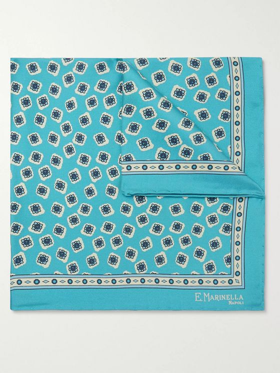 E.MARINELLA Printed Silk-Twill Pocket Square