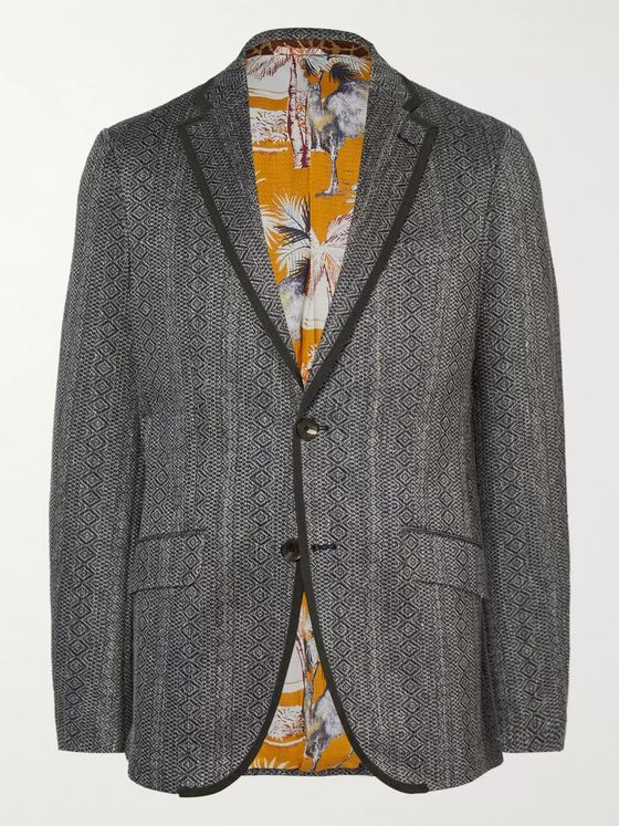 ETRO Slim-Fit Grosgrain-Trimmed Cotton and Linen-Blend Jacquard Blazer